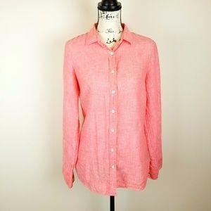 J.Crew Ladies Coral 100 % Linen Shirt Size 8
